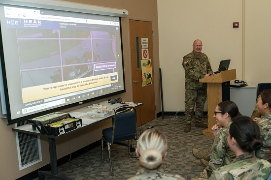 Lt. Col. John Merkley, chief of the Army Hearing Division, Army Public Health Center, demonstrates the HEAR course to Army audiologists during the 3rd Annual Army Public Health Course in August 2018. (U.S. Army photo)
