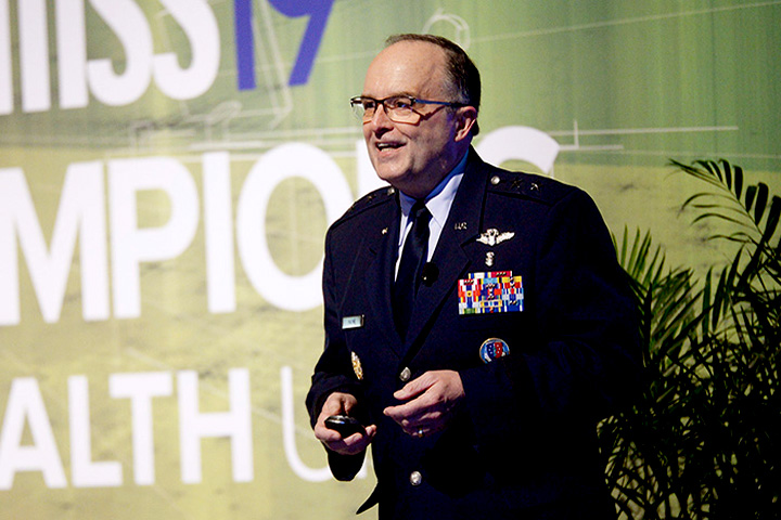 Air Force Maj. Gen. Lee Payne, assistant director for the Defense Health Agency's Combat Support Agency, speaks during this year's Healthcare Information and Management Systems Society Global Conference and Exhibition. The annual HIMSS event was held at the Orange County Convention Center in Orlando, Florida. (MHS photo)
