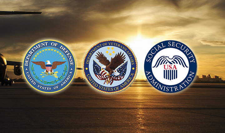 The Department of Defense, Department of Veterans Affairs and the Social Security Administration seals.