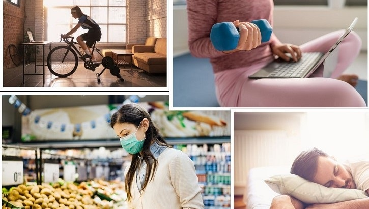 Collage of four pictures of people exercising, sleeping and eating healthy food