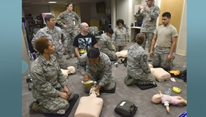 The Military Training Network or MTN transferred from the Uniformed Services University of the Health Sciences to the Defense Health Agency in September 2019. MTN oversees basic, advanced, and pediatric life-support training for more than 350,000 medical and non-medical personnel at 345 military facilities around the globe. (U.S. Air Force photo by Airman 1st Class Alexandra Singer)