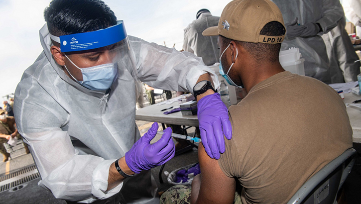 Opens larger image for Marines, Sailors with PHIBRON 11, 31st MEU receive COVID-19 vaccine