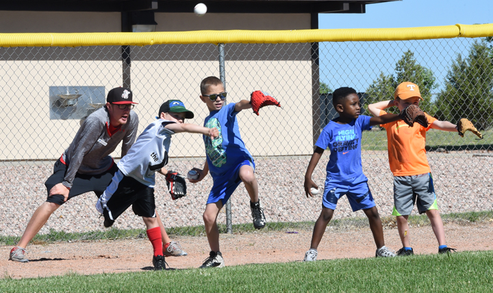 Children participate in a sports clinic at Schriever Air Force Base, Colorado. The installation partnered with the YMCA of Pikes Peak Region to teach young athletes the fundamentals of baseball, gymnastics, soccer, and basketball. (U.S. Air Force photo by Staff. Sgt. Wes Wright)