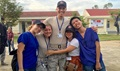 Air Force Maj. (Dr.) Cody Butler, a physical therapist and commander of the 78th Medical Group Clinical Medicine Flight, poses with other members of his engagement team in Tam Ky, Quang Nam Province, Vietnam, Nov. 30, 2017. Butler was in Vietnam as part of a team seeing patients and building relationships with local physicians during the humanitarian assistance engagement Operation Pacific Angel Vietnam 2017. (Air Force photo by Jonathan Bell)