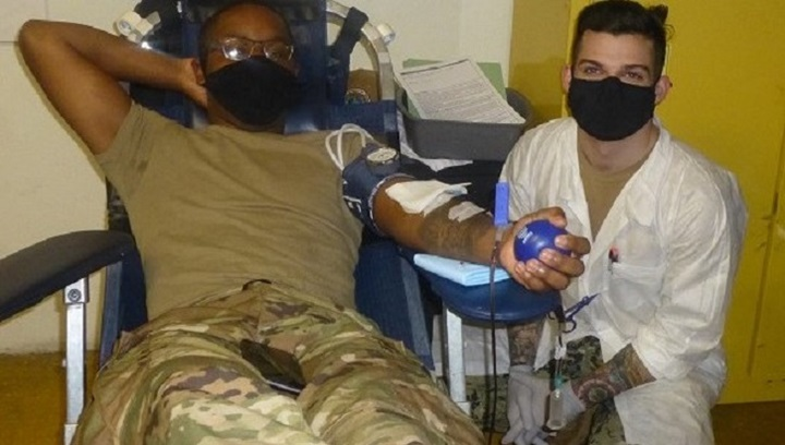 Soldier giving blood