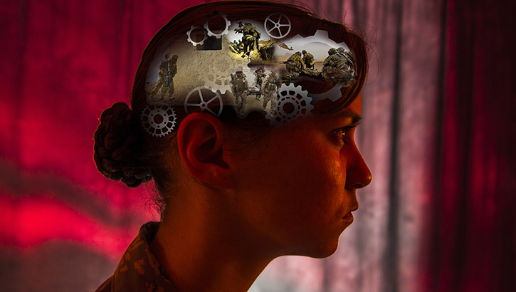 Female soldier with war images superimposed on her head