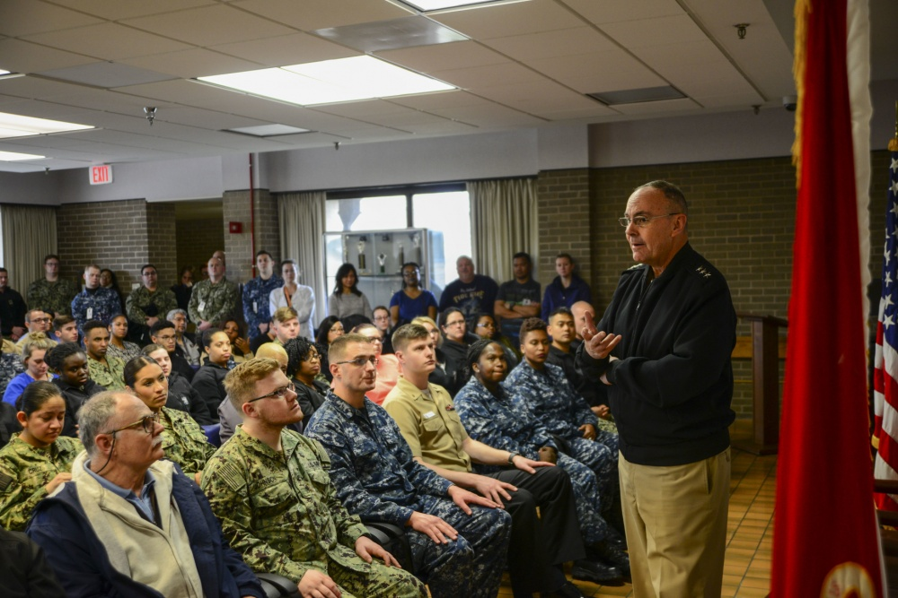 Navy Surgeon General, Vice Adm. Forrest Faison, visits Naval Medical Center Portsmouth's Branch Health Clinic Norfolk, Mar. 5, 2019. (U.S. Navy photo by Petty Officer 2nd Class Kris Lindstrom)