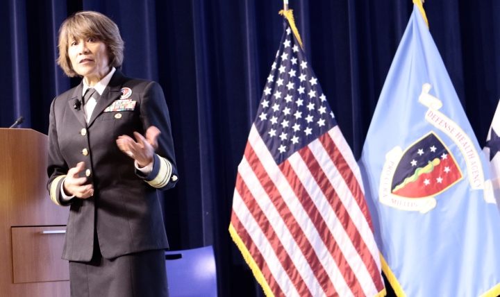 Navy Vice Adm. Raquel Bono, director, Defense Health Agency, addresses attendees of the Return On Investment Symposium, Oct. 11, 2017, at the National Oceanic and Atmospheric Administration building in suburban Washington, D.C. (Courtesy photo)