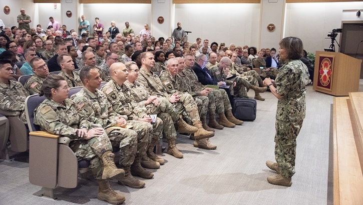 Navy Vice Adm. Raquel Bono, Defense Health Agency director, discusses the DHA transition during a town hall meeting at Brooke Army Medical Center. On Oct. 1, 2019 BAMC will transition under DHA command and authority. (U.S. Army photo by Jason W. Edwards)