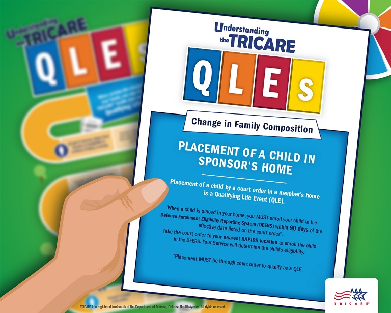 Image of a hand hand holding a QLE card discussing the qualifying life event court placement in home with a game board in the background
