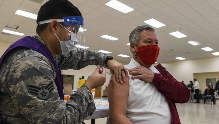 Opens larger image for Trained military personnel ready to help with COVID-19 vaccinations
