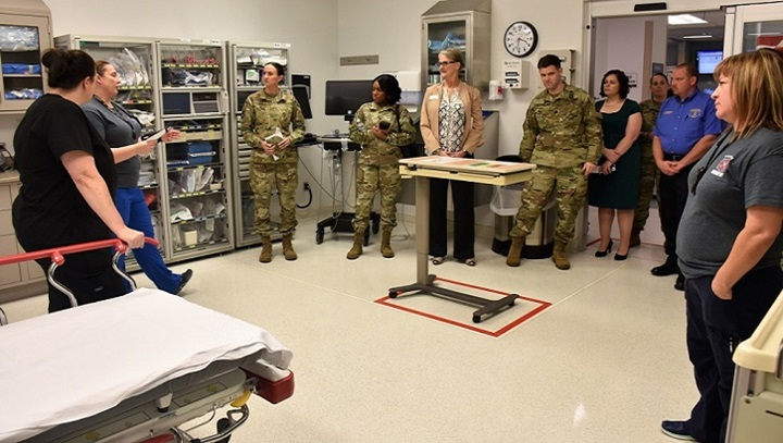 Local medical partners conduct a 'trace the trauma' tour Nov. 6 after Womack Army Medical Center celebrated their integration into the North Carolina American College of Surgeons Level III Trauma designation. (U.S. Army photo by Twana Atkinson)