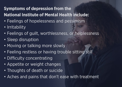 Symptoms of depression from the National Institute of Mental Health