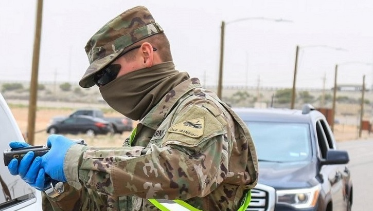 Image of a soldier wearing a face mask