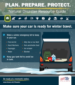 Make sure your car is ready for winter travel, and make an emergency kit to keep in your car.