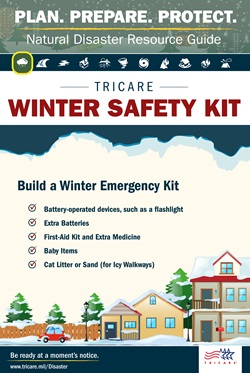 Build a winter emergency kit that includes: battery-operated devices, extra batteries, a first-aid kit, extra medicine, baby supplies, and cat little or sand (for icy walkways)