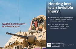 Graphic about hearing loss as an invisible injury of military operations with an image of a soldier operating an M2A2 Bradley Fighting Vehicle.