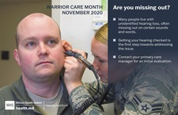 Graphic about missing out on communications because of unidentified hearing loss with image of an Airman getting his hearing checked.