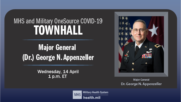 MHS and Military OneSource COVID-19 Townhall, Major General (Dr.) George N. Appenzeller, Wednesday 14 April