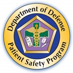 circular logo with department of defense patient safety program written around the perimeter and a pentagon shaped image in the center with the medical caduceus over a medical cross symbol