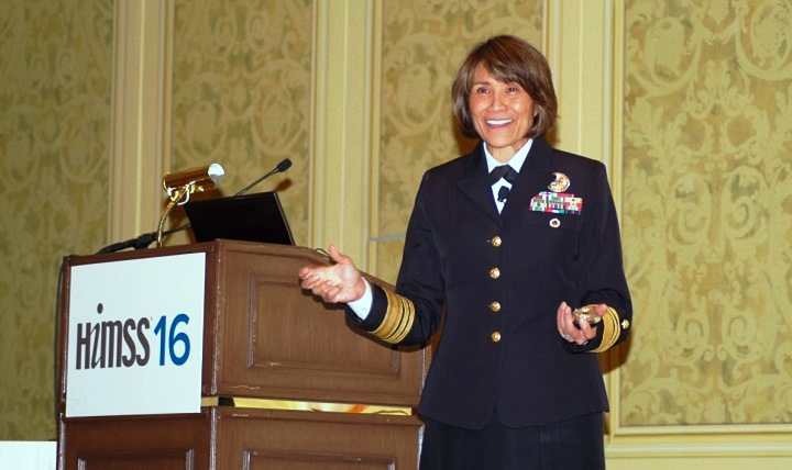 Navy Vice Adm. Raquel Bono, director of the Defense Health Agency, told those gathered for the Healthcare Information and Management Systems Society (HIMSS) Health IT conference in Las Vegas about how health IT is helping the MHS become a high reliability organization.(MHS photo by Jim Yocum)