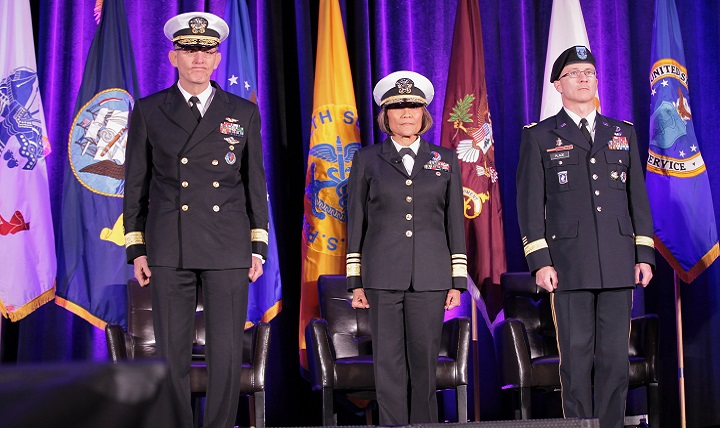 From left, Navy Rear Adm. David Lane, Navy Vice Adm. Raquel Bono, and Army Maj. Gen. Ronald Place during the change of authority ceremony for the National Capital Region Medical Directorate. (Courtesy photo)