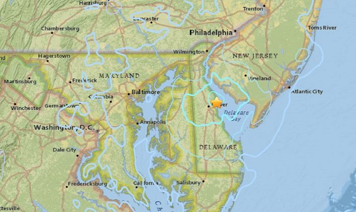 A map of Delaware and the surrounding areas where a magnitude 4.1 earthquake occurred Nov. 30, 2017, six miles northeast of Dover is shown. (Courtesy photo)