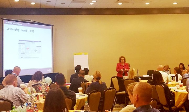 "Ms. Heidi King, chief of the Patient Safety and High Reliability Initiatives Office, at the 2016 TeamSTEPPS® National Conference opening up the DoD two-day  session titled ""The""Military Health System (MHS) Across the Globe….Don't Stop Believing in Zero Harm""."