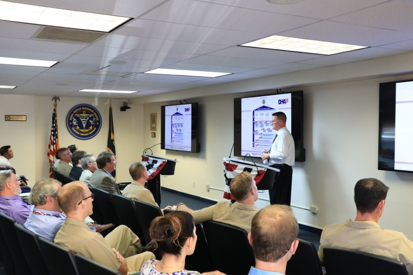 SAN DIEGO (Oct. 25, 2017) During a visit to Naval Health Research Center (NHRC), Sean Biggerstaff, acting director for Research and Development, Defense Health Agency (DHA), meets with the command's researchers to share insights about DHA's research and development activities. Biggerstaff is responsible for prioritizing and integrating DHA medical research, development, and acquisition programs across the Military Health System. His directorate also fosters strategic partnerships and transitions medical discoveries to deployable products to enhance the readiness and resilience of the military community. (U.S. Navy photo by Regena Kowitz/Released)