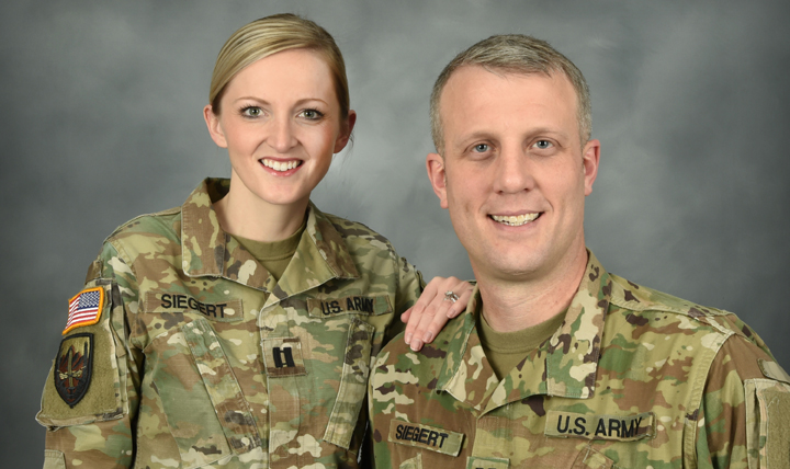 Feb. 14, 2018 marks the ninth Valentine's Day in a dual-military marriage for Army Capts. Jenna Siegert, a family nurse practitioner, and Mike Siegert, chief of clinical operations at William Beaumont Army Medical Center in El Paso, Texas. (Courtesy photo by Rick Escajeda)
