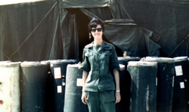 A 1968 photo of Pat (Thomson) Upah in Vietnam at the 95th Evacuation Hospital, Da Nang, which she helped to stand up. (Photo courtesy of Pat Upah)
